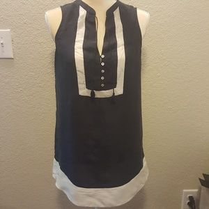 Maeve top 100% silk Blue & white sz. 0 or Small